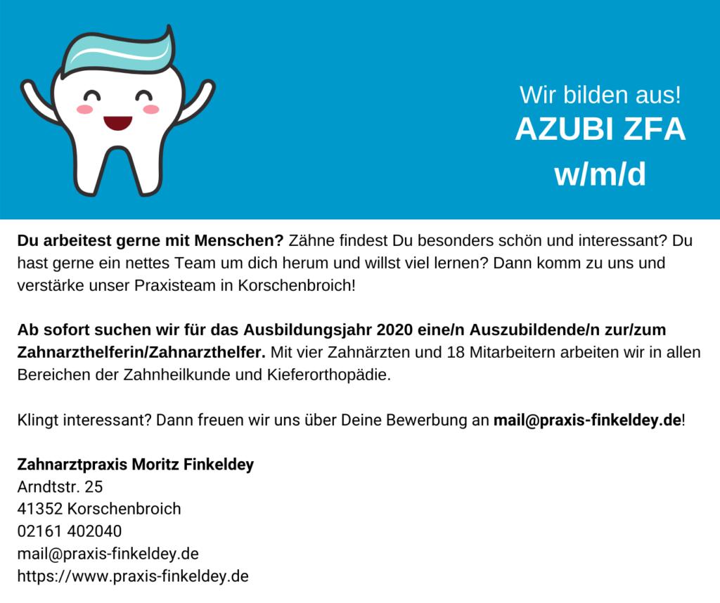 Stellenanzeige Azubi Zahnmedizinische/r Fachangestellte/r in der Zahnarztpraxis Finkeldey