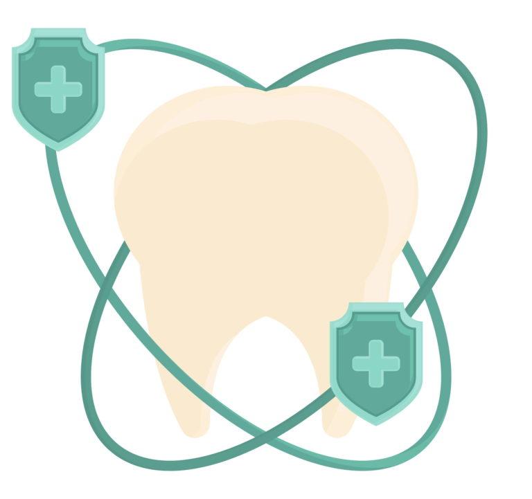 Zahnsymbol mit Schutzschild
